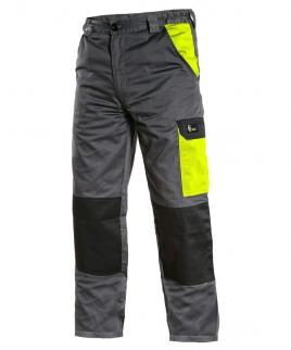 Работен панталон в сиво и неоново жълто