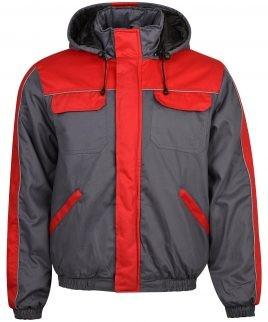 Зимно работно яке - 100% памук сиво и червено