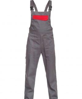 Работен полугащеризон в сиво и червено с джобове