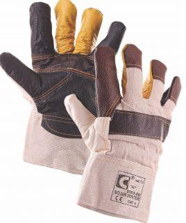 Зимни ръкавици от кожа и плат.