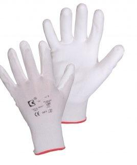 Ръкавици BRITA WHITE от ластично трико, потопени в полиуретан