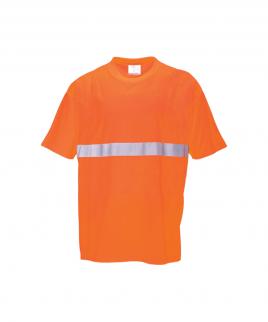 Тениска в сигнално оранжево.