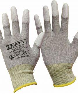 Ръкавици ESD CLOVES от полиестерно трико, върхове на пръсти, потопени в PU