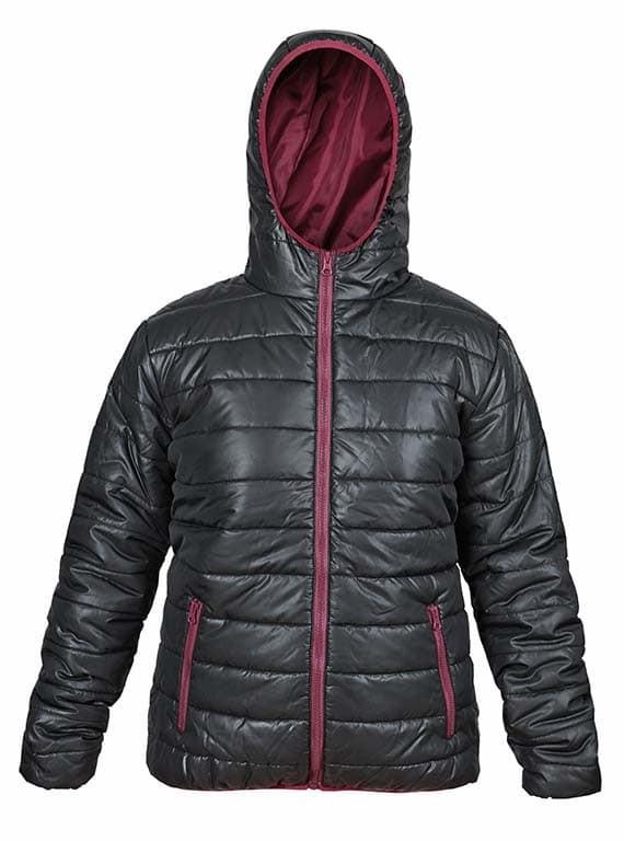 дамско ватирано яке в черно и бордо
