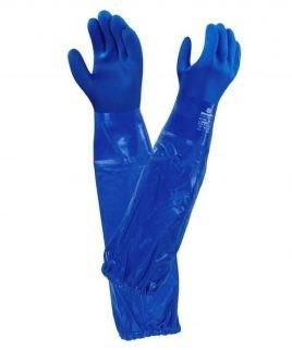 Ръкавици с дължина до рамото, с ластик, от PVC.