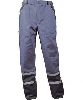 Работен панталон със светлоотразителни ленти на крачолите в сиво